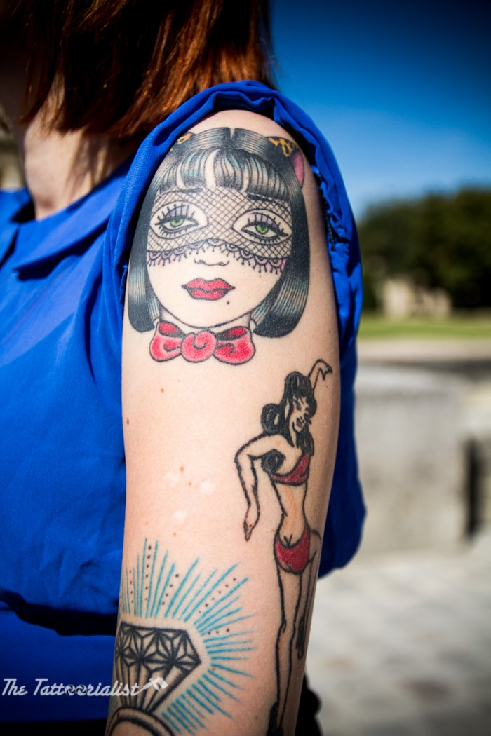 Miss Glitter PainKiller tattooed by Sunny Buick and Coney Island Ink the tattoorialist